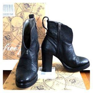 FREE PEOPLE crinkle leather stacked heel booties